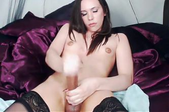 Big Dick Brunette Shemale Stockings Cums